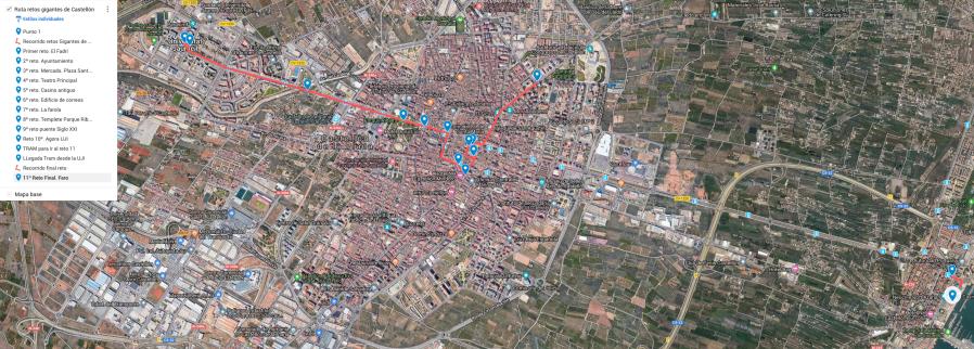 Ruta del juego Gigantes de Castellón. Sigue por lugares emblemáticos en los que el jugador tendrá que superar un reto.
